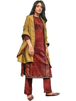 Redwood-Brown Trouser Salwar- Kameez Suit with Zari-Embroidery and Gold Woven Dupatta