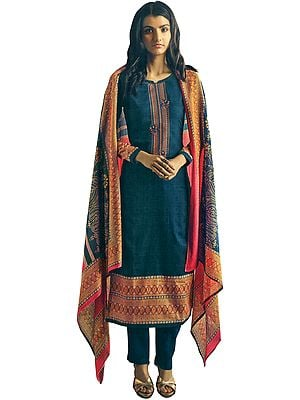 Midnight-Blue Long Trouser and Kameez Suit with Multicolored Embroidery and Digital Printed Dupatta