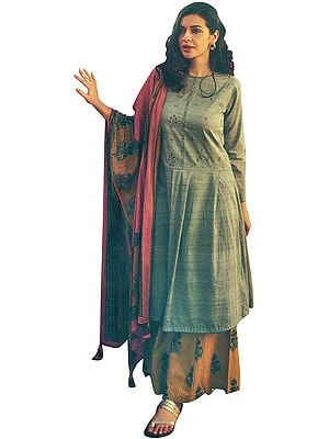 String-Gray Long Embroidered Kameez with Printed Yellow Palazzo and Floral Dupatta