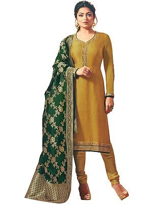 Tawny-Olive Choodidaar Salwar Kameez Suit with Zari-Embroidery with Banarasi Dupatta