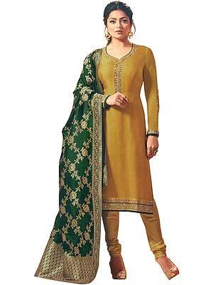 Tawny-Olive Choodidaar Salwar Kameez Suit with Zari-Embroidery with Banarasi Dupatta