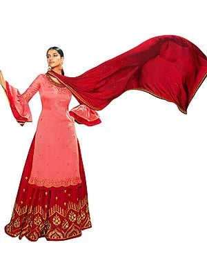 Scarlet-Red Zari-Embroidered Sharara Pants and Strawberry-Pink Kameez Embellished with Crystals and Net Duppatta
