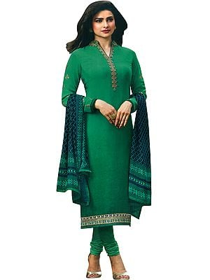 Pepper-Green Prachi Choodidaar Salwar Kameez Suit with Floral Zari-Embroidery