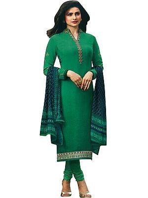 Pepper-Green Prachi Choodidaar Salwar Kameez Suit with Floral Zari-Embroidery
