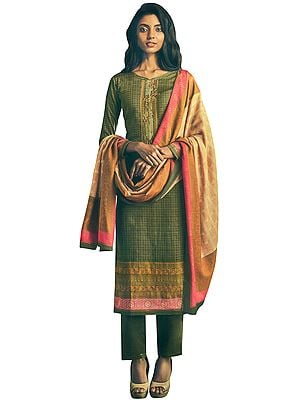Olive-Brown Long Trouser and Kameez Suit with Multicolored Embroidery and Digital Printed Dupatta