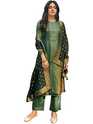 Moon-Gray Palazzo Salwar- Kameez Suit with Zari-Embroidery and Black Woven Dupatta