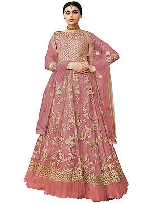 Blush-Pink Zari Embroidered Lehenga with Sequins and Beads on Embroidered Dupatta