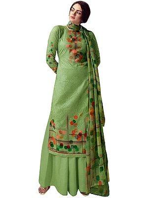 Quiet-Green Digital Printed Palazzo Lawn Salwar- Kameez Suit with Chiffon Dupatta
