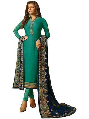 Ocean Floor-Green Choodidaar Salwar-Kameez Suit with Floral Zari-Embroidery and Green Chiffon Dupatta