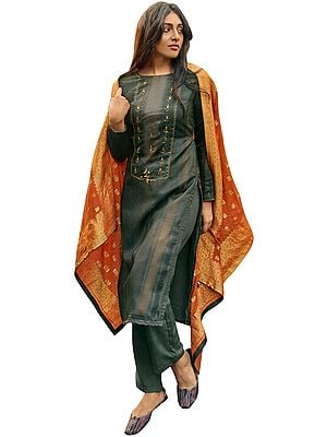 Dark-Shadow Palazo Salwar- Kameez Suit with Zari-Embroidery and Orange Woven Dupatta