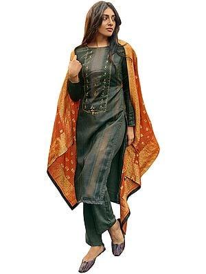 Dark-Shadow Palazo Salwar- Kameez Suit with Zari-Embroidery and Orange Woven Dupatta