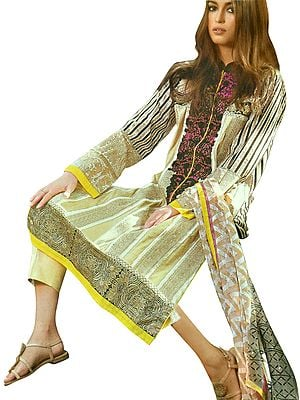 Sahara-Sun Digital Printed Trouser Salwar- Kameez Suit with Dupatta