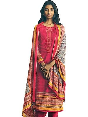 Virtual-Pink Long Trouser and Kameez Suit with Multicolored Embroidery and Digital Printed Dupatta