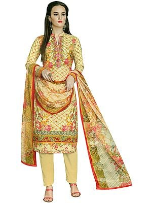 Cornhusk-Yellow Embroidered and Printed Kameez Suit with  Long Trouser and Floral Printed Dupatta