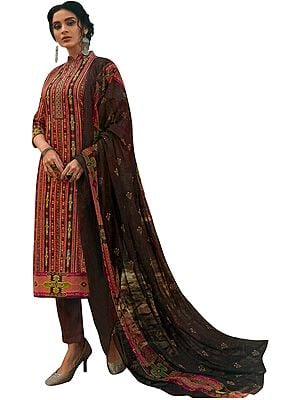 Brown-Stone All Over Printed Kameez with Long Trousers and Printed Dupatta