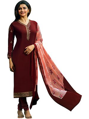 Winery-Red Prachi Long Choodidaar Salwaar Kameez Suit with Zari-Embroidery and Chiffon Dupatta