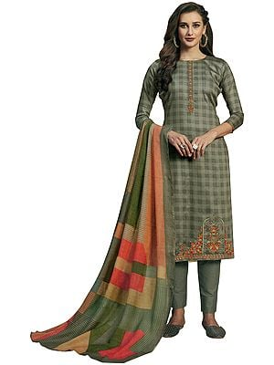 Vintage-Khaki Long Trouser Salwar-Kameez Suit with Embroidery and Multicolor Printed Dupatta