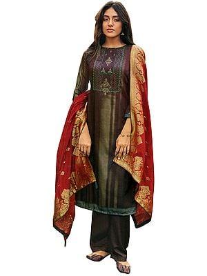 Mauve-Wine Palazo Salwar- Kameez Suit with Zari-Embroidery and Gray Woven Dupatta