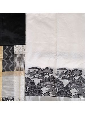 White and Black Salwar Kameez Fabric with Landscape Scene on Border
