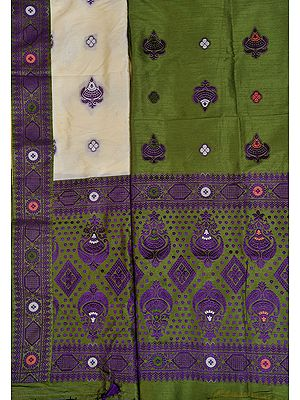 Green and Cream Suit Fabric with Dupatta from Assam with Woven Bootis