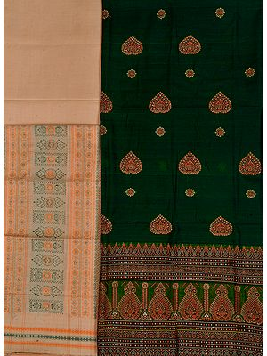 Green and Beige Salwar Kameez Bomkai Fabric from Orissa with Woven Motifs
