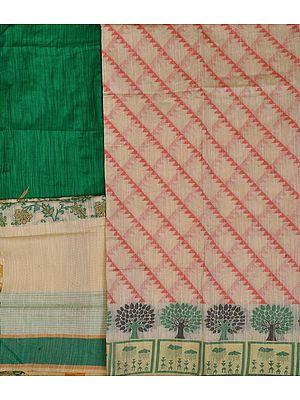 Off-White Salwar Kameez Banarasi Fabric with Woven Trees on Border