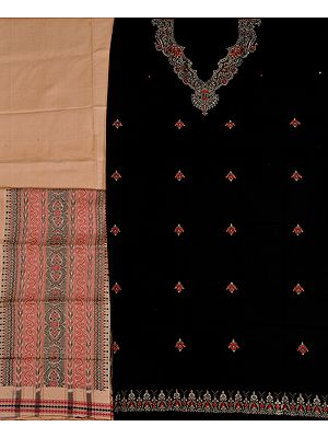 Black and Beige Salwar Kameez Fabric from Orissa with Bomkai Weave