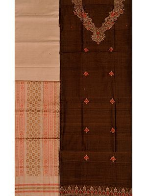 Brown and Beige Bomkai Salwar Kameez Fabric from Orissa with Woven Bootis