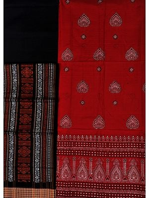 Red and Black Bomkai Salwar Kameez Fabric from Orissa with Woven Bootis