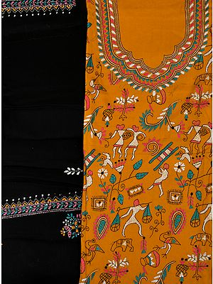 Nugget and Black Salwar Kameez Fabric from Kolkata with Kantha Hand-Embroidered Folk Motifs