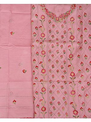 Sweet-Lilac Salwar Kameez Fabric from Kolkata with Kantha Floral Embroidery By Hand