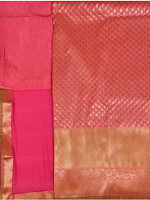 Banarasi Salwar Kameez Fabric with Zari-Woven Bootis All-Over and Wide Golden Border