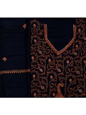 Midnight-Blue Kashmiri Tusha Salwar Kameez Fabric with Sozni Hand-Embroidery All-Over