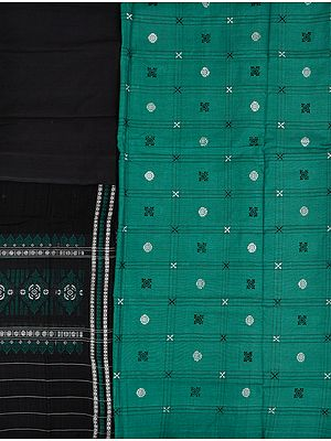 Porcelain-Green and Black Bomkai Salwar Kameez Fabric from Orissa with Woven Bootis
