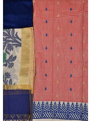 Banarasi Salwar Kameez Fabric with Woven Checks and Bootis