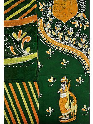 Green and Nugget Batik Salwar Kameez Fabric with Printed Village Belle