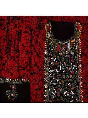Garnet and Black Kantha Hand-Embroidered Batik Salwar Kameez Fabric from Bengal