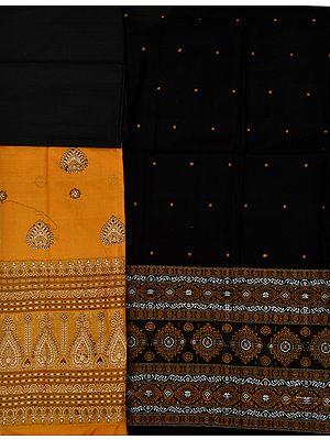 Butterscotch and Black Bomkai Salwar Kameez Fabric from Orissa with Woven Floral Motifs