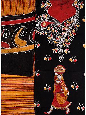 Black and Butterscotch Batik Salwar Kameez Fabric with Floral Print and Village Belle