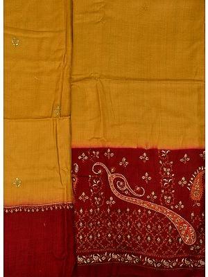 Ochre and Maroon Double-Shaded Kashmiri Tusha Salwar Kameez Fabric with Sozni Hand-Embroidery