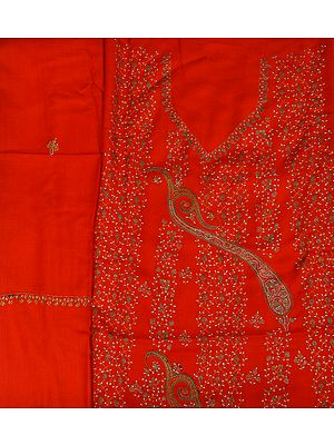 Tomato-Red Kashmiri Tusha Salwar Kameez Fabric with Sozni Hand-Embroidery and Paisleys