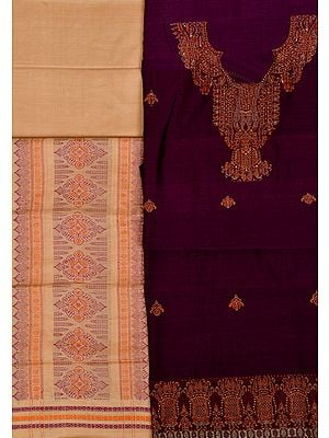 Bomkai Salwar Kameez Fabric from Orissa with Woven Paisleys