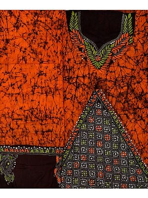 Orange and Black Batik Salwar Kameez Fabric from Bengal with Kantha Hand-Embroidery