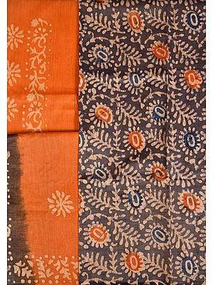 Excalibur-Gray and Orange Batik-Printed Salwar Kameez Fabric