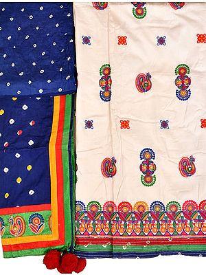 White and Blue Embroidered Salwar Kameez Fabric from Gujarat with Bandhani Print on Salwar and Dupatta