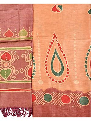 Peach-Nougat and Woodrose Printed Salwar Kameez Fabric from Jharkhand