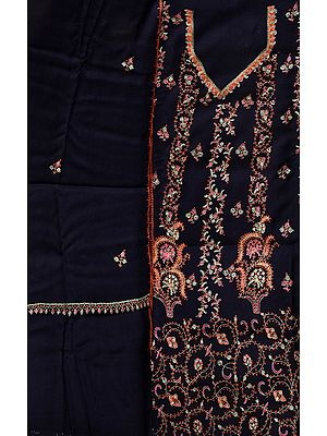 Eclipse-Blue Kashmiri Tusha Salwar Kameez Fabric with Sozni Hand-Embroidery