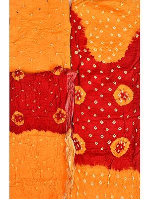 Marigold and Maroon Double-Shaded Bandhani Tie-Dye Salwar Kameez Fabric from Gujarat