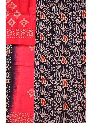 Dark-Blue and Pink Batik-Dyed Salwar Kameez Fabric from Jharkhand