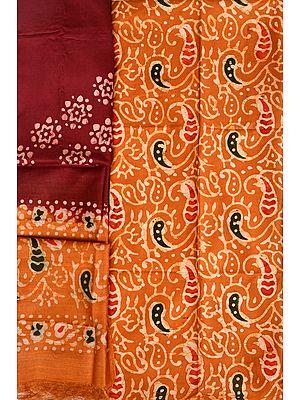 Honey-Yellow and Chocolate Batik-Dyed Salwar Kameez Fabric with Paisleys Print